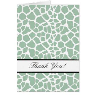Mint Green Giraffe Print Thank You Card