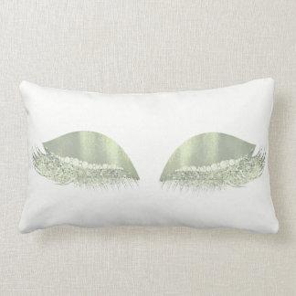 Mint Green Glitter Crystals White  Makeup Lashes Lumbar Pillow