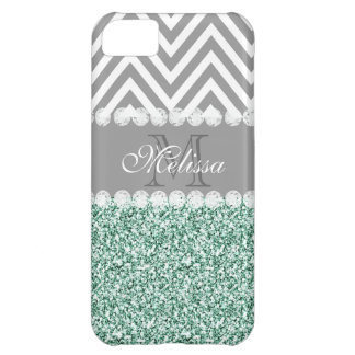 MINT GREEN GLITTER, GRAY CHEVRON, MONOGRAMMED iPhone 5C CASES
