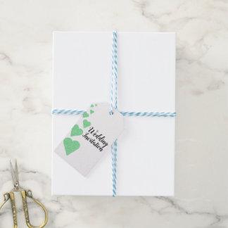 Mint Green Glitter Hearts Wedding Invitation Tag