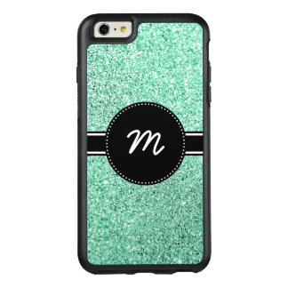 Mint Green Glitter Monogram OtterBox iPhone 6/6s Plus Case
