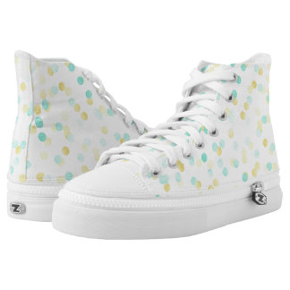 Mint green gold confetti dotted high top sneakers
