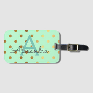 Mint Green & Gold Foil Polka Dots Monogram Luggage Tag