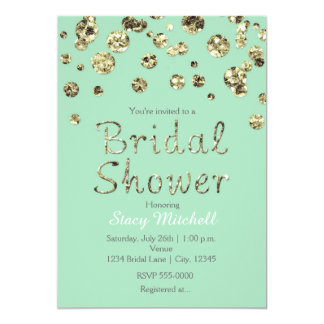 Mint Green Gold Glitter Bridal Shower Invitation