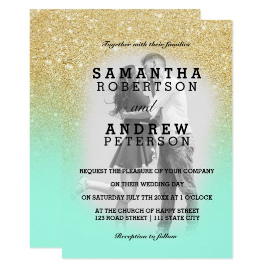 Mint green gold glitter ombre photo wedding card