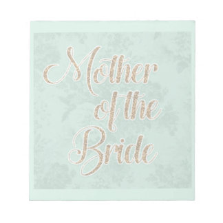 Mint Green Gold Mother of the Bride Notepad