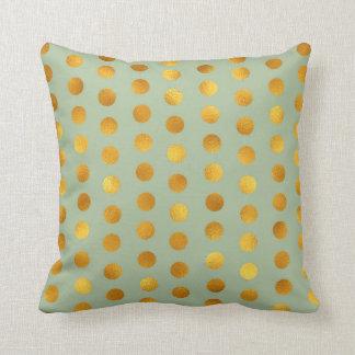 Mint Green Gold Polka Big Dots Confetti Throw Pillow