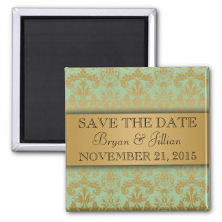 Mint Green & Gold Regal Damask Save the Date Refrigerator Magnets