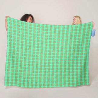 Mint Green & Gold Stars Satin Pattern Fleece Blanket