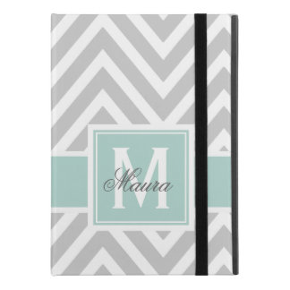 "Mint Green Gray Chevron Monogram Personalized iPad Pro 9.7"" Case"
