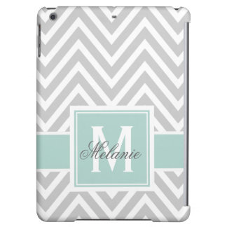 MINT GREEN, GRAY CHEVRON PATTERN PERSONALIZED iPad AIR CASE