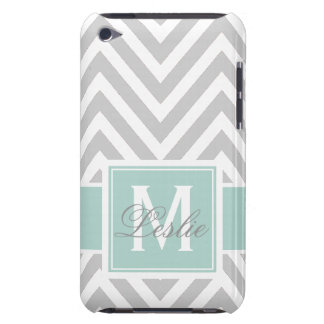 MINT GREEN, GRAY CHEVRON PATTERN PERSONALIZED iPod TOUCH Case-Mate CASE