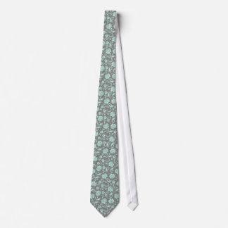 Mint-Green & Gray Floral Damasks Tie