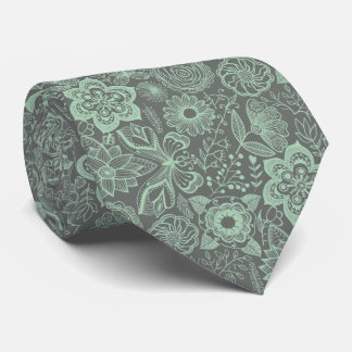 Mint-Green & Gray Floral Lace Pattern Tie