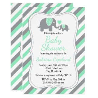 Mint Green & Gray Stripes  Elephant | Baby Shower Card