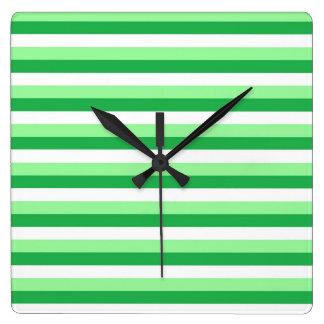 Mint Green, Green and White Stripes Clocks