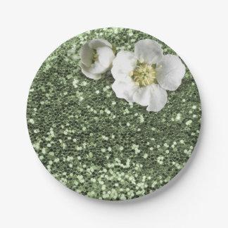 Mint Green Greenery White Jasmine Glitter Paper Plate