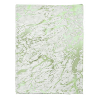 Mint Green Greenery White Marble Stone Abstract Duvet Cover