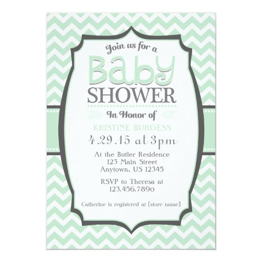 Mint Green Grey Chevron Baby Shower Invitation