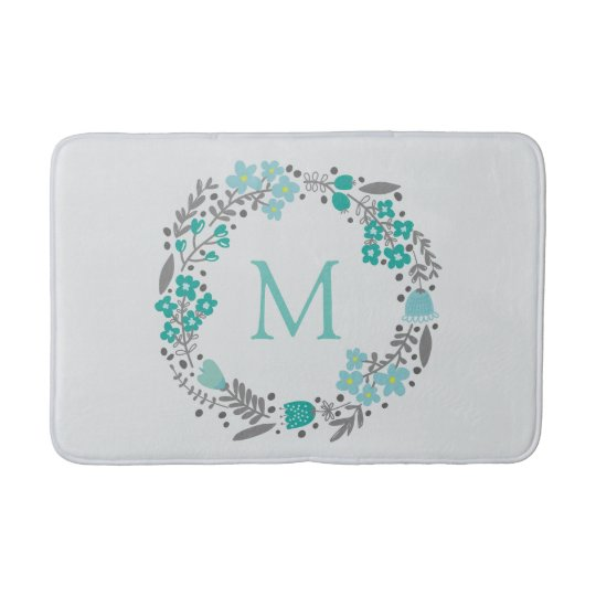 Mint Green Grey Floral Monogram Wreath Pattern Bath Mat
