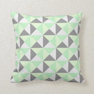 Mint Green Grey Geometric Triangles Pillow
