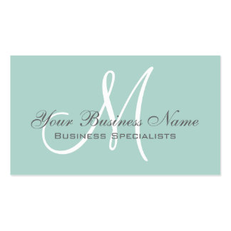 Mint Green Grey Simple Plain Monogram Business Card