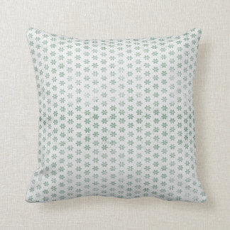 Mint Green Grunge Flower Pattern Throw Pillow