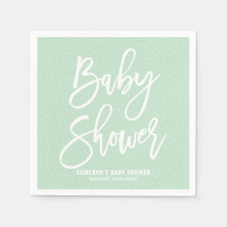 Mint Green Hand Lettered Baby Shower Paper Napkins