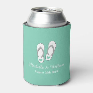 Mint green heart beach slippers wedding can cooler