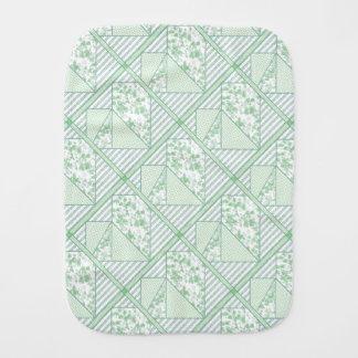 Mint Green Heart Patchwork Quilt Baby Burp Cloths