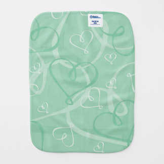 Mint green heart pattern baby burp cloth