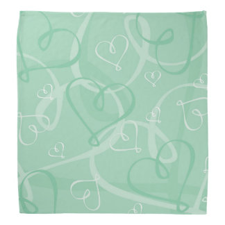 Mint green heart pattern bandana