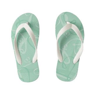 Mint green heart pattern kid's flip flops