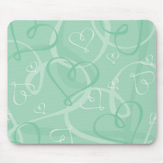 Mint green heart pattern mouse pad