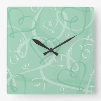 Mint green heart pattern wall clock