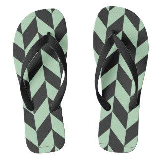 Mint Green Herringbone Pattern Flip Flops