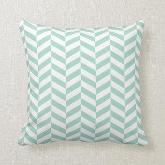 Mint green Herringbone Throw Pillow