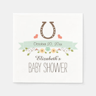 Mint Green Horseshoe Western Baby Shower Disposable Napkin