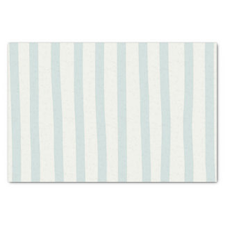 Mint Green & Ivory Cream Watercolor Stripes Modern Tissue Paper