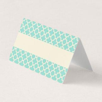 Mint Green Ivory Quatrefoil Pattern Wedding Place Card