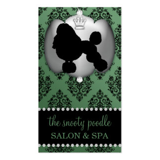 Mint Green Jeweled Damask Dog Grooming/Spa Business Card