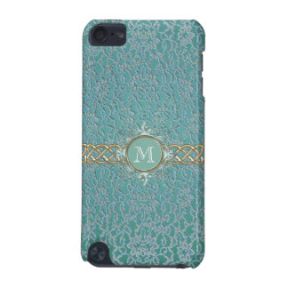 Mint Green Lace Monogram iPod Touch Case