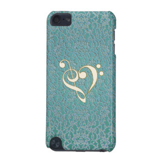 Mint Green Lace Music Clef Heart iPod Touch Case