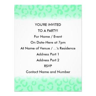 Mint Green Leopard Print Pattern. Invite