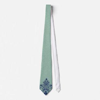 Mint-Green Linen Texture Blue Floral Lace Tie
