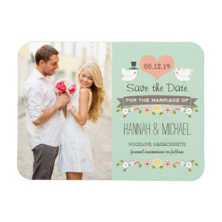Mint Green Love Birds Dove Save the Date Rectangular Photo Magnet