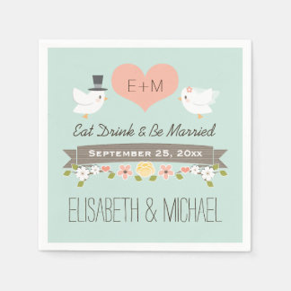Mint Green Love Birds Dove Wedding Paper Napkins