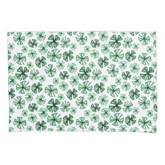 Mint-Green Lucky Shamrock Clover Pillowcase