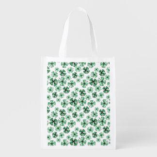 Mint-Green Lucky Shamrock Clover Reusable Grocery Bag
