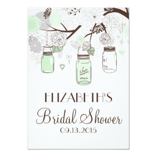 Mint Green Mason Jars Bridal Shower Invitations